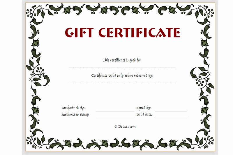 Free Printable Gift Card Template Lovely Gift Certificate Template Floral Design Dotxes