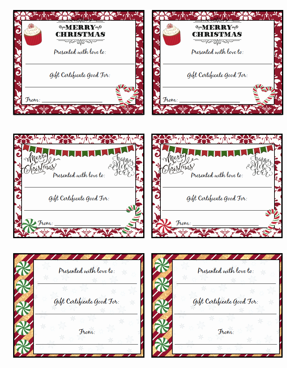 Free Printable Gift Cards Online Fresh Free Printable Christmas Gift Certificates 7 Designs