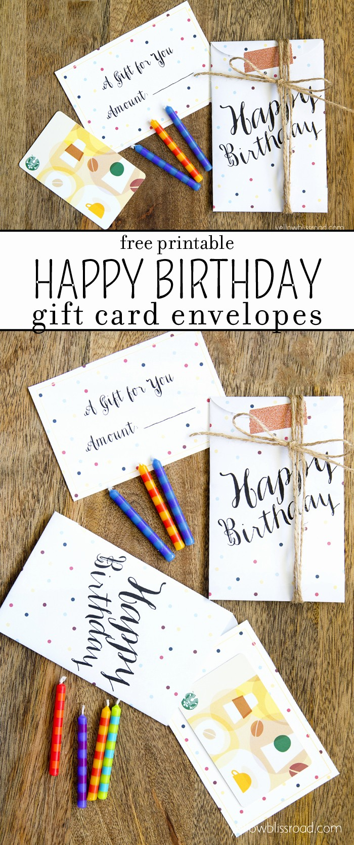 Free Printable Gift Cards Online Unique Free Printable Birthday Gift Card Envelopes Yellow Bliss