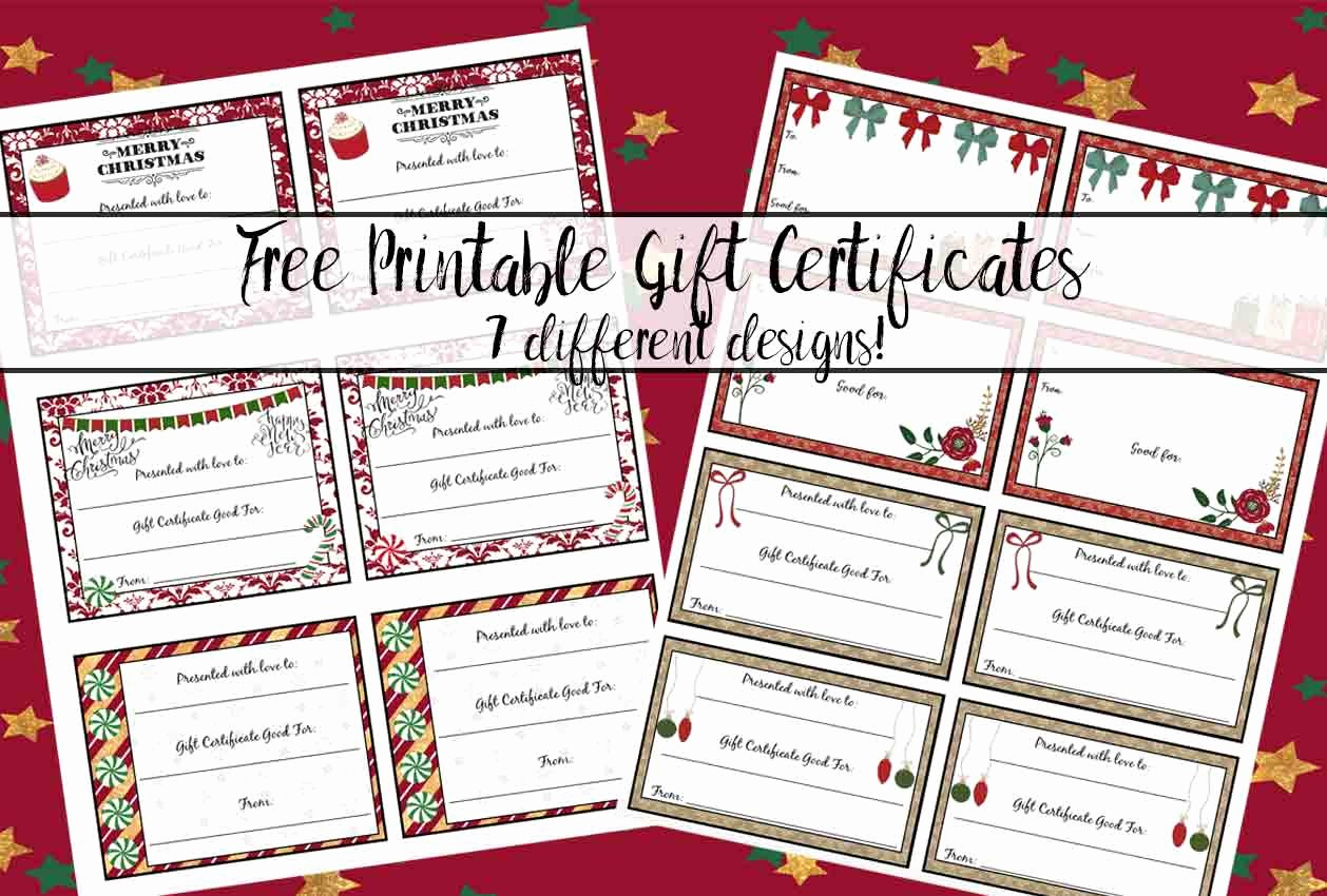 Free Printable Gift Cards Online Unique Free Printable Christmas Gift Certificates 7 Designs