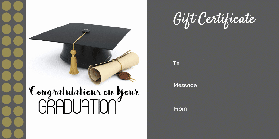Free Printable Graduation Certificate Templates Inspirational Graduation Gift Certificate Template Free & Customizable