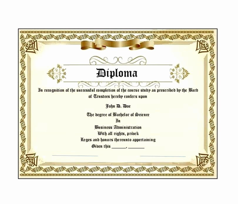 Free Printable Graduation Certificate Templates Lovely 30 Real & Fake Diploma Templates High School College