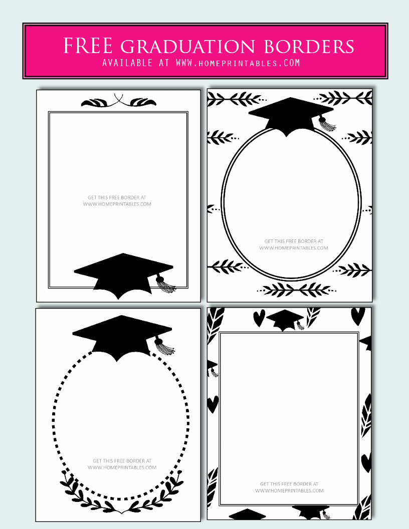 Free Printable Graduation Invitations 2016 Beautiful 15 Free Graduation Borders with 5 New Designs Home