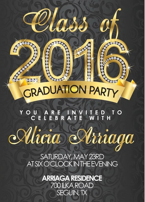 Free Printable Graduation Invitations 2016 Best Of Gold Diamond Graduation Invitations for College or High