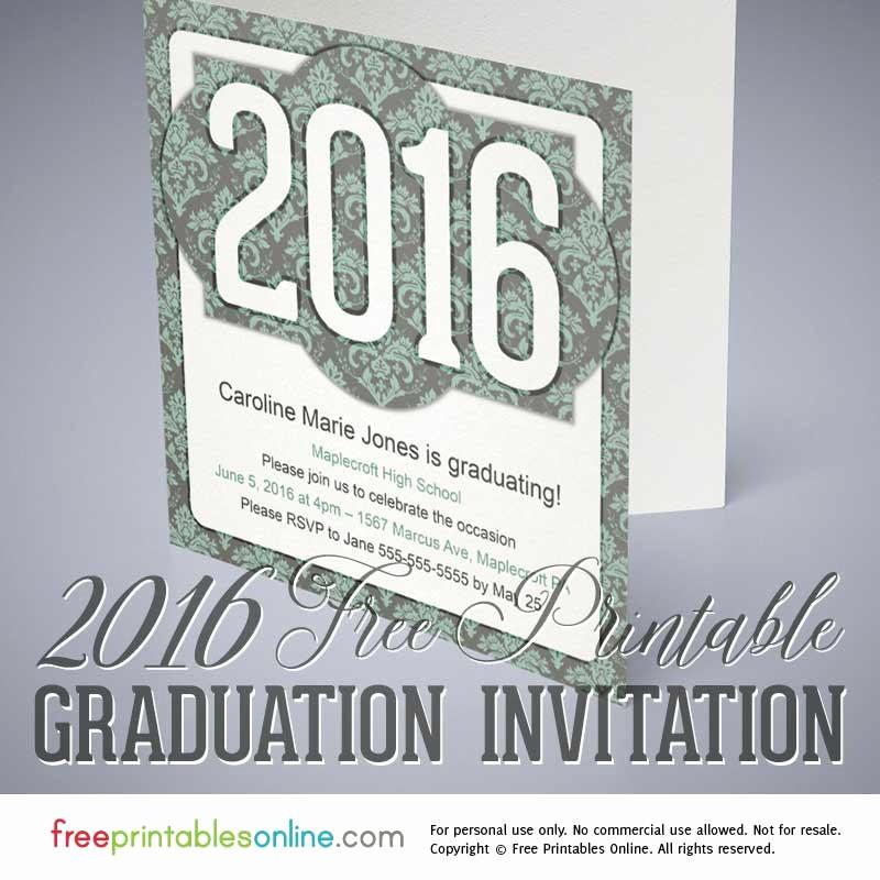 Free Printable Graduation Invitations 2016 Best Of Victorian Printable 2016 Graduation Invitation