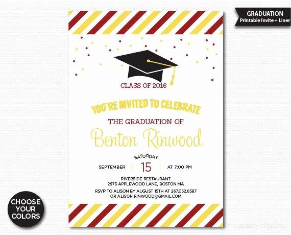 Free Printable Graduation Invitations 2016 Lovely Graduation Invitation Printable Choose Your Colors