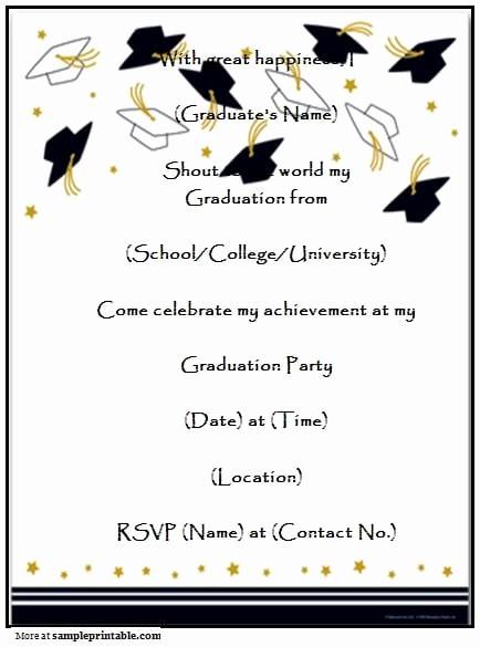 Free Printable Graduation Invitations 2016 Lovely Print Free Graduation Invitation