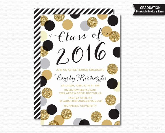 Free Printable Graduation Invitations 2016 Unique Printable Graduation Invitation Black Gold Polka by