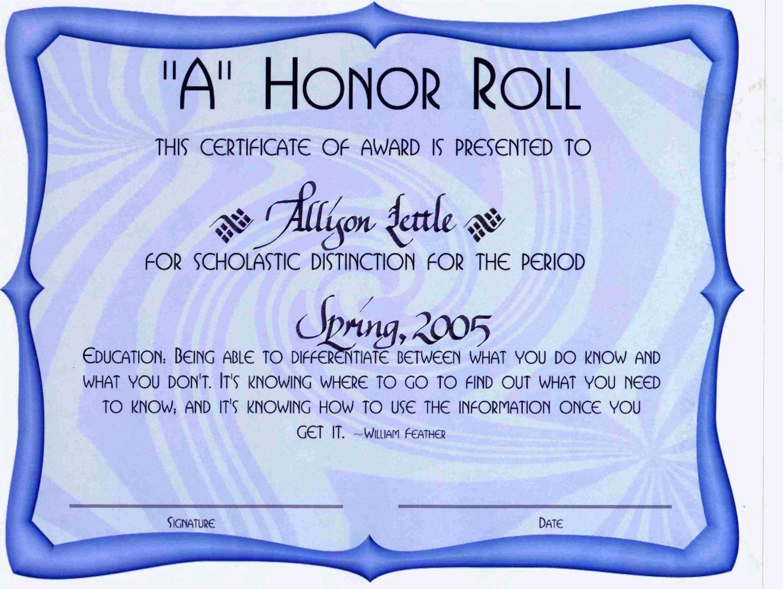 Free Printable Honor Roll Certificates Awesome Free Honor Roll Certificate Template Template Update234