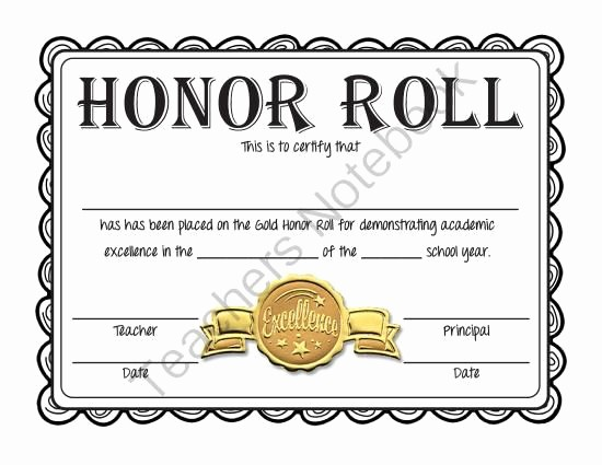 Free Printable Honor Roll Certificates Awesome Free Honor Roll Certificates Gold Silver and Bronze
