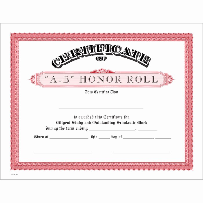 Free Printable Honor Roll Certificates Beautiful A B Honor Roll Red Certificate Jones School Supply