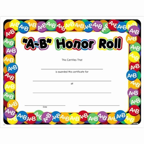 Free Printable Honor Roll Certificates Best Of A B Honor Roll Award Certificate 8 1 2 X 11 A B Honor