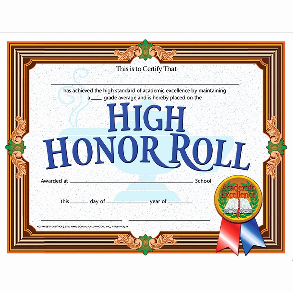 Free Printable Honor Roll Certificates Elegant High Honor Roll Achievement 30pk Certificates H Va686