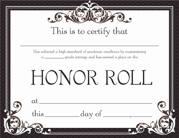Free Printable Honor Roll Certificates Elegant Honor Roll Certificate Template