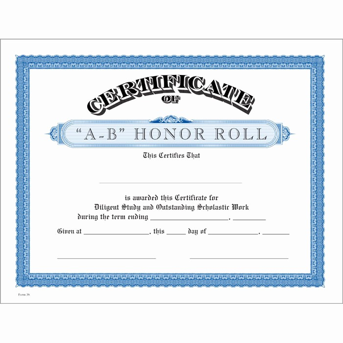 Free Printable Honor Roll Certificates Fresh A B Honor Roll Blue Certificate Jones School Supply