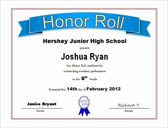 Free Printable Honor Roll Certificates Inspirational 8 Printable Honor Roll Certificate Templates & Samples