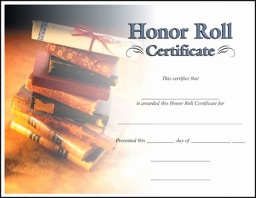 Free Printable Honor Roll Certificates Inspirational Fill In the Blank Certificates