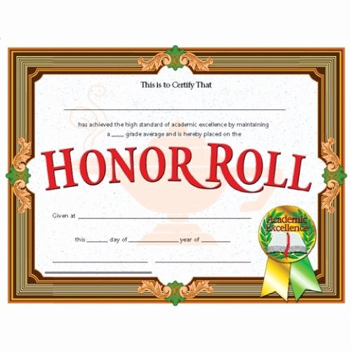 Free Printable Honor Roll Certificates Inspirational Honor Roll Award Reward Your Students for their Special