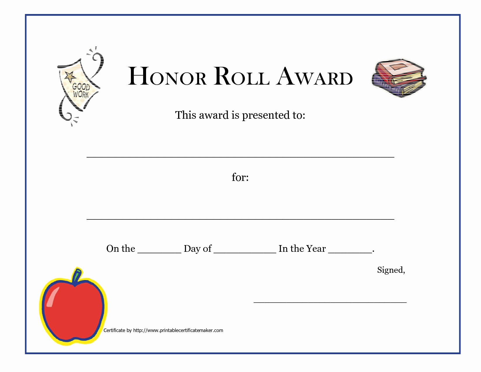 Free Printable Honor Roll Certificates Luxury 8 Best Of Honor Roll Certificates Printable Free