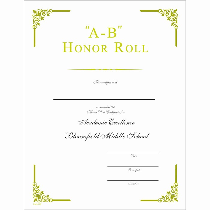Free Printable Honor Roll Certificates Luxury Ab Honor Roll Certificate Jones School Supply
