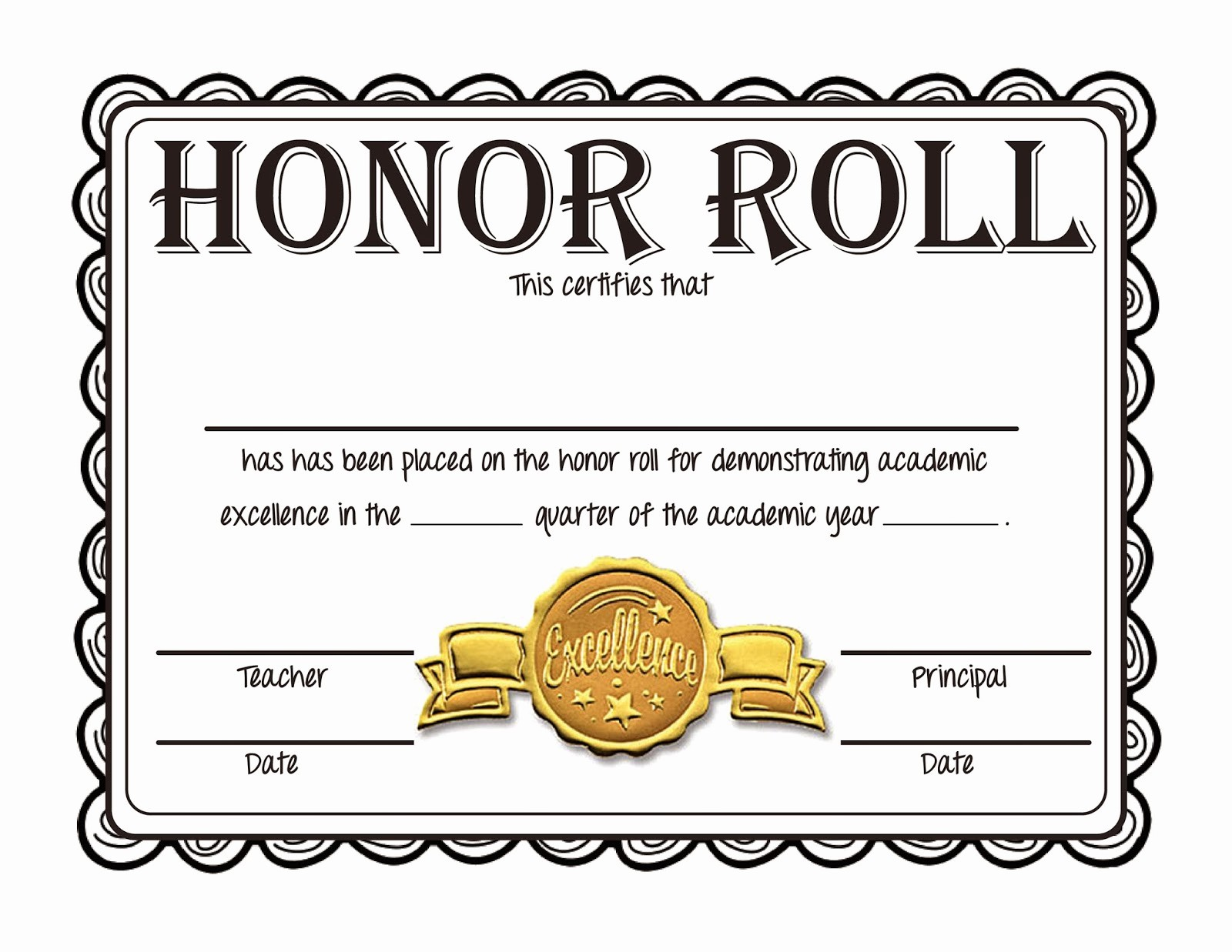 Free Printable Honor Roll Certificates Luxury Quotes for Honor Rolls Students Quotesgram