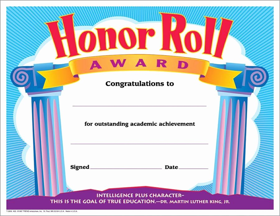 Free Printable Honor Roll Certificates Luxury Trend Enterprises Honor Roll Award Colorful Classics