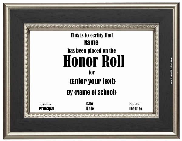 Free Printable Honor Roll Certificates New Free Honor Roll Certificates Customize Line