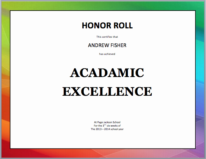 Free Printable Honor Roll Certificates New Free Printable Honor Roll Certificates Free Principals
