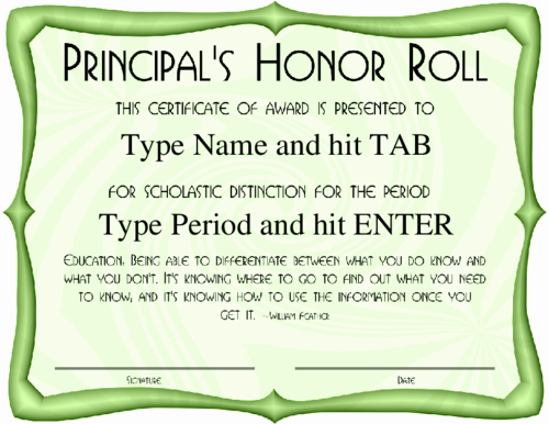 Free Printable Honor Roll Certificates Unique Award Certificate Templates