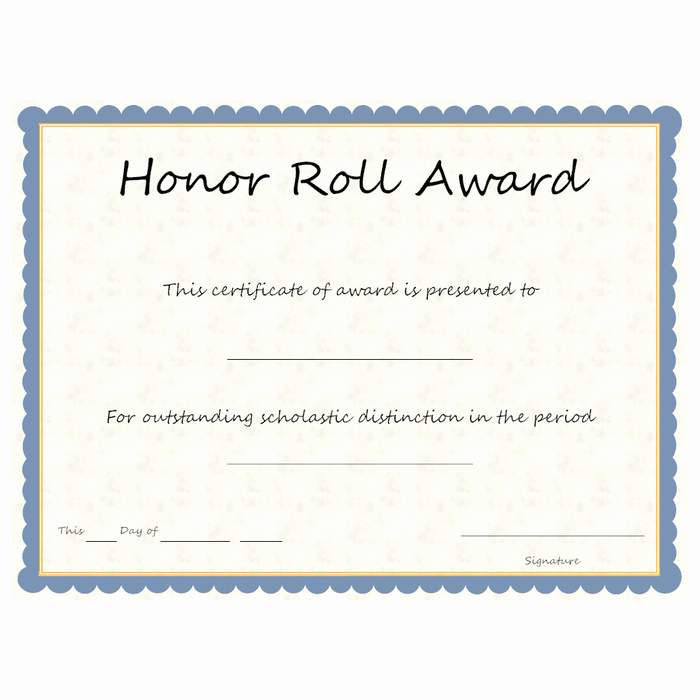 Free Printable Honor Roll Certificates Unique Honor Roll Award