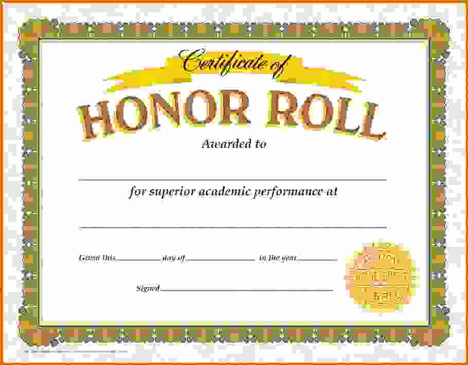 Free Printable Honor Roll Certificates Unique Honor Roll Certificate Template