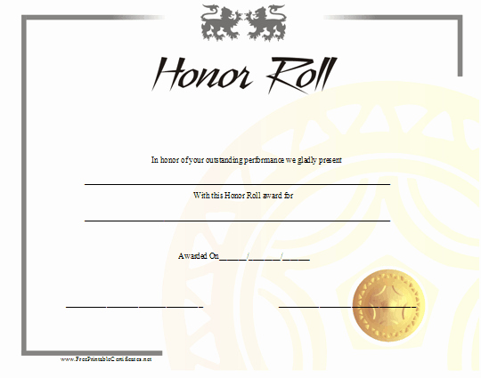 Free Printable Honor Roll Certificates Unique Honor Roll Certificates