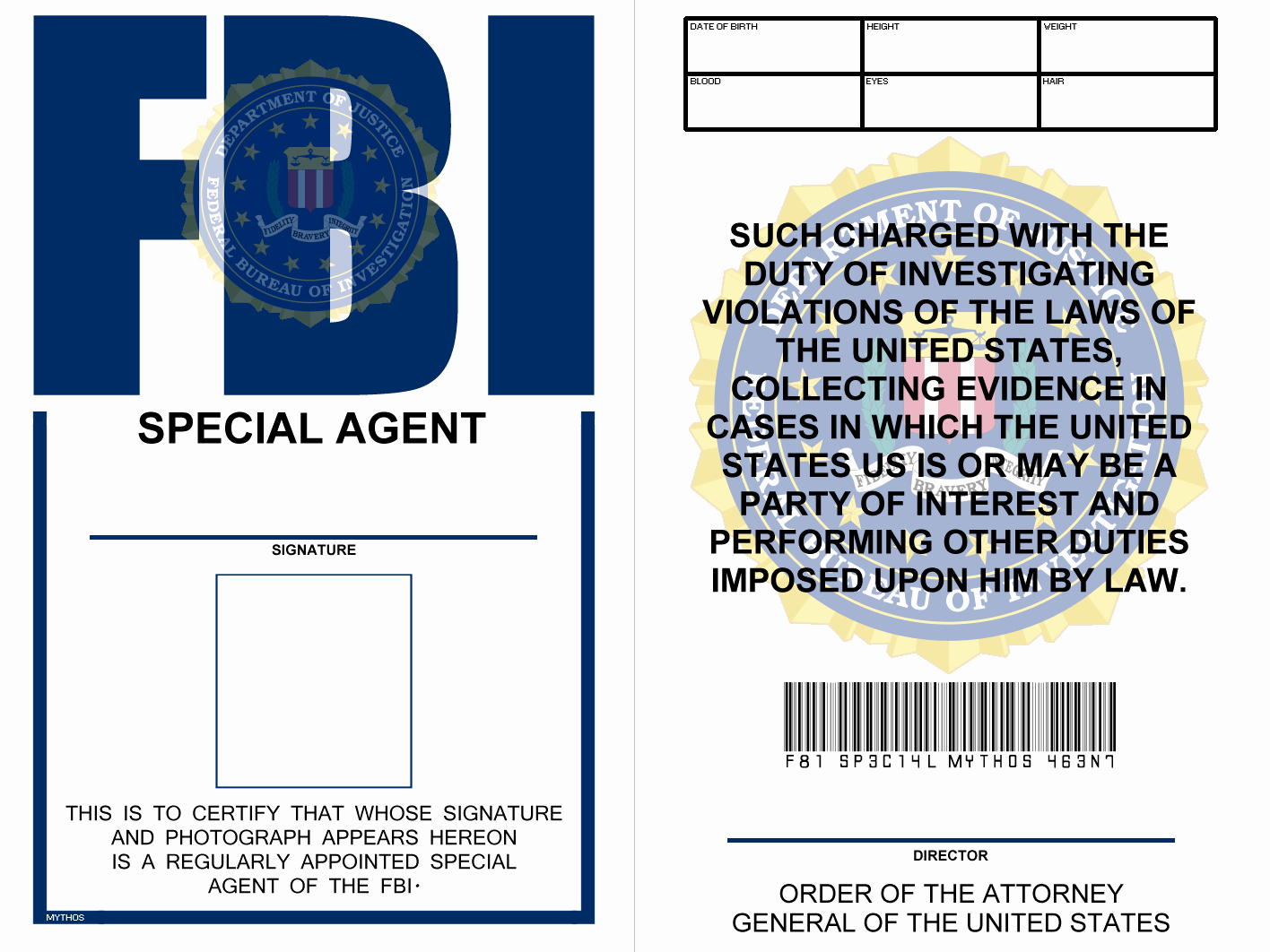 Free Printable Id Badge Template Lovely Fbi Badge X Files