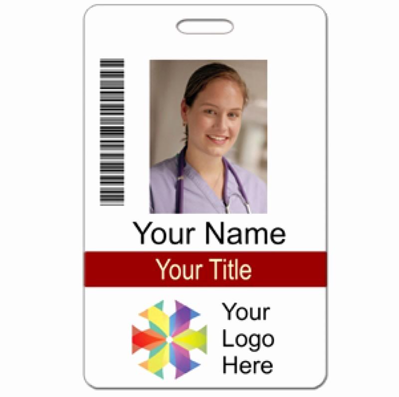 Free Printable Id Badge Template Luxury Id Custom 2 Lines Text Bar Code & Logo Name Tag