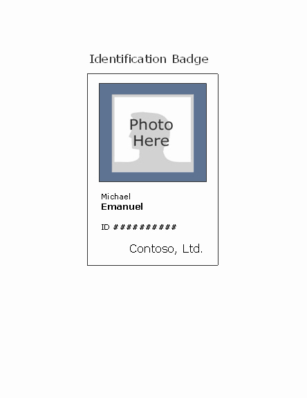 Free Printable Id Badge Template New Employee Photo Id Badge Portrait