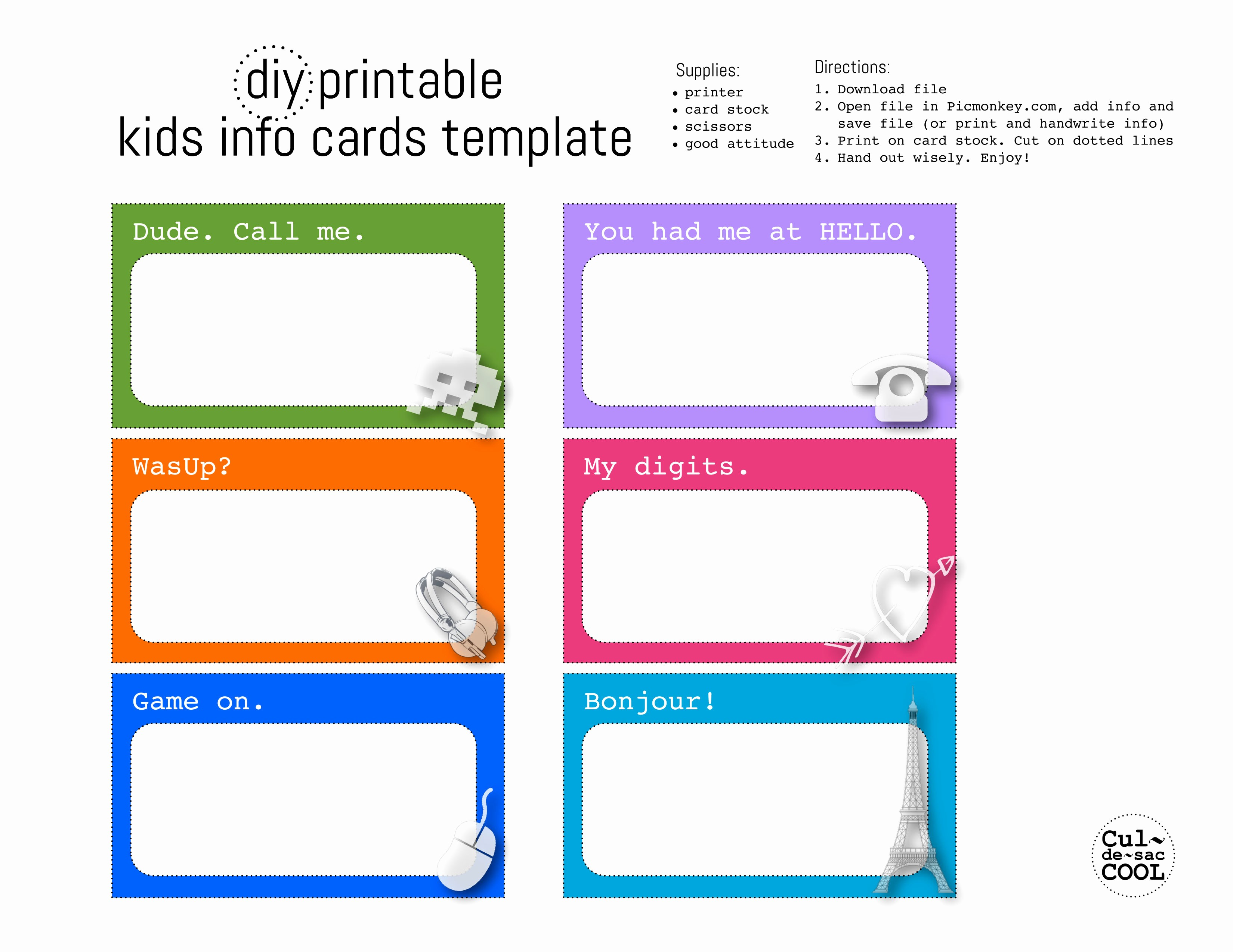 Free Printable Id Card Template Awesome Diy Printable Kids Info Cards Template
