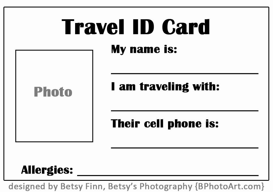 "Free Printable Id Card Template Elegant Travel ""id"" Card for toddlers Free Printable ⋆ Betsys"