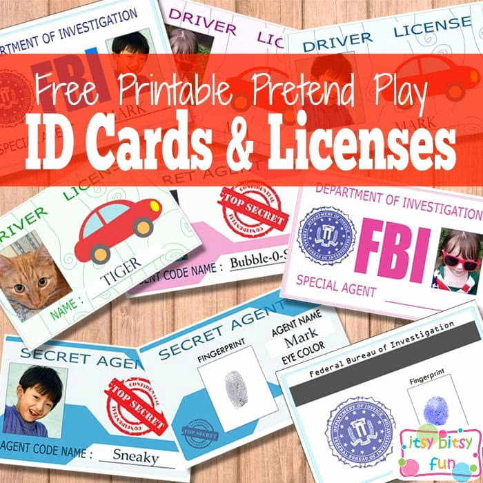 free printable kids id cards licences