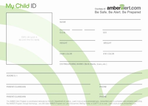 Free Printable Id Card Template Fresh Kids Id Cards Child Identifi…