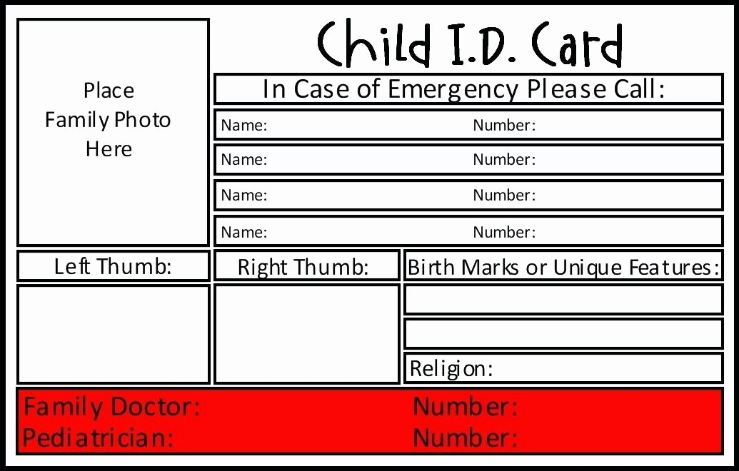 Free Printable Id Card Template Fresh Wallet Id Card Template Do You Have Emergency Cards with