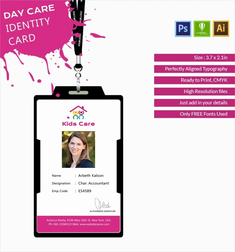 Free Printable Id Card Template New Fabulous Day Care Identity Card Template