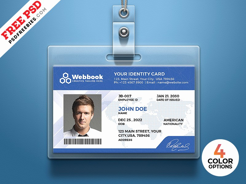 Free Printable Id Card Template Unique Free Id Card Template Psd Set