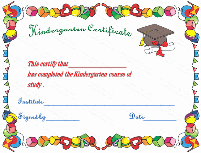Free Printable Kindergarten Certificate Templates Awesome 7 Best Of Printable Kindergarten Diploma Template