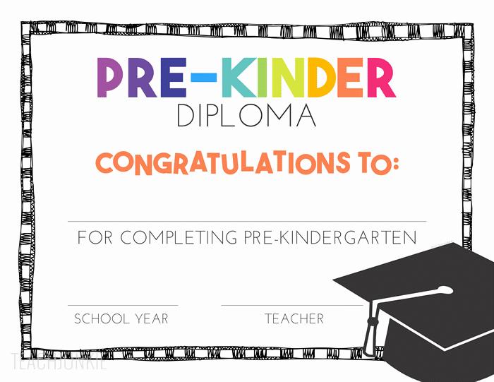 Free Printable Kindergarten Certificate Templates Beautiful Free Pre K and Kindergarten Graduation Diplomas Teach Junkie