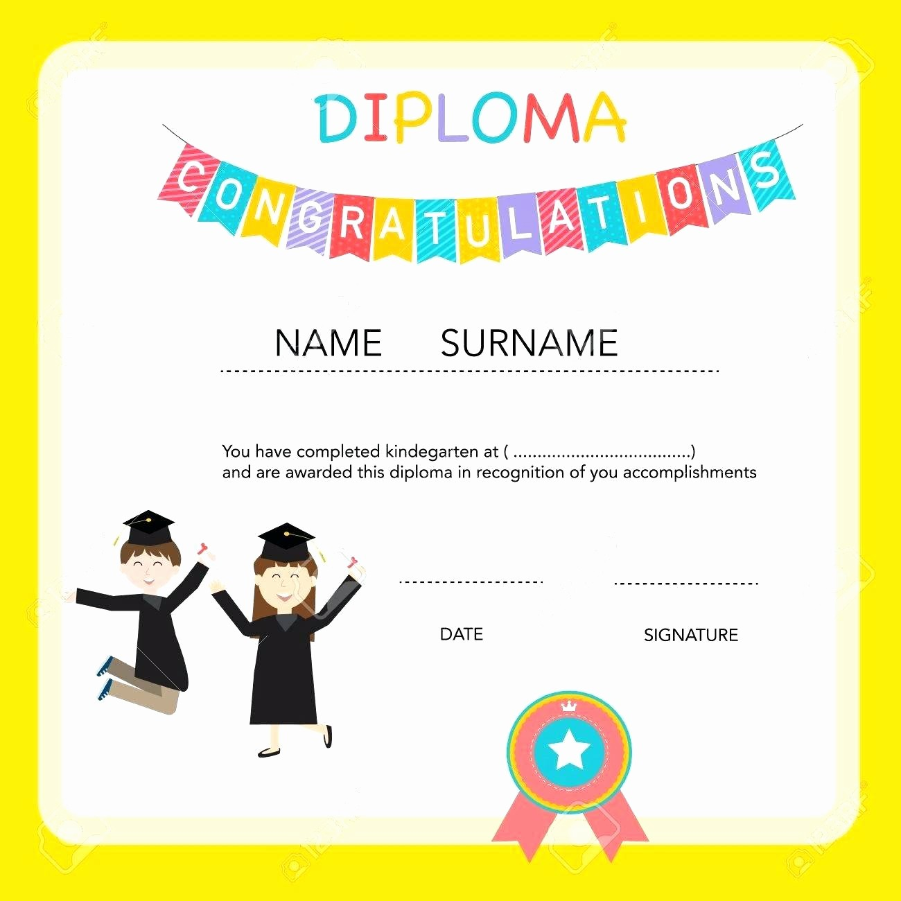 Free Printable Kindergarten Certificate Templates Beautiful Template Kindergarten Diploma Template