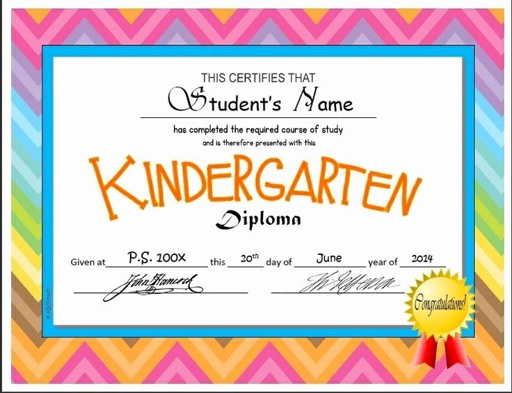 Free Printable Kindergarten Certificate Templates Elegant Kindergarten & Pre K Diplomas Editable