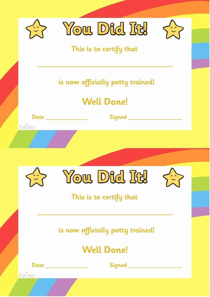 Free Printable Kindergarten Certificate Templates Elegant Potty Training Certificate Free Printables