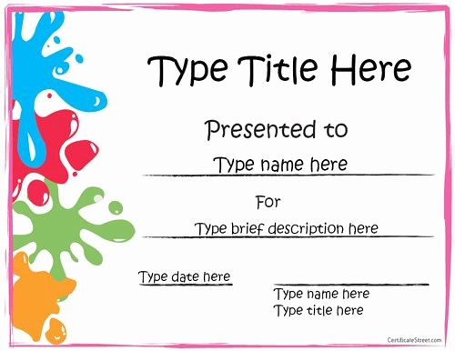 Free Printable Kindergarten Certificate Templates Fresh Sports Certificate Art Award Certificate