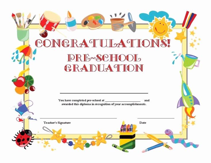 Free Printable Kindergarten Certificate Templates Inspirational Free Printable Pre School Graduation Certificate