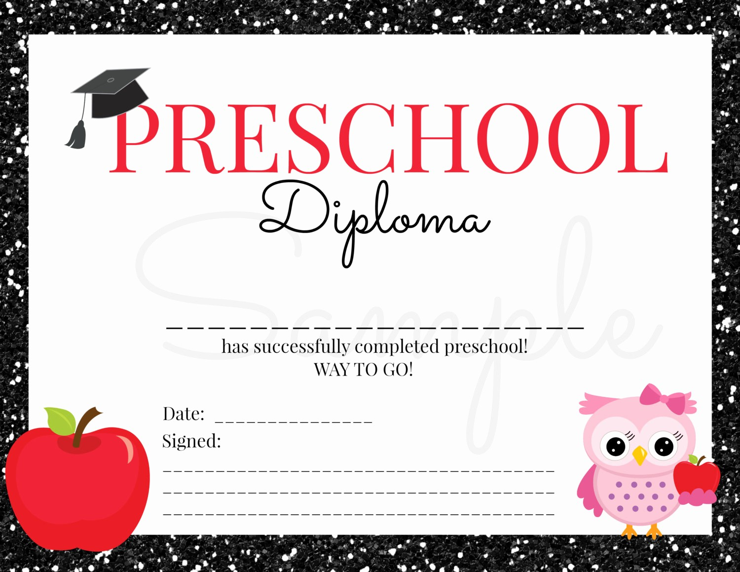 Free Printable Kindergarten Certificate Templates Lovely Instant Download Preschool Graduation Diploma for Girl